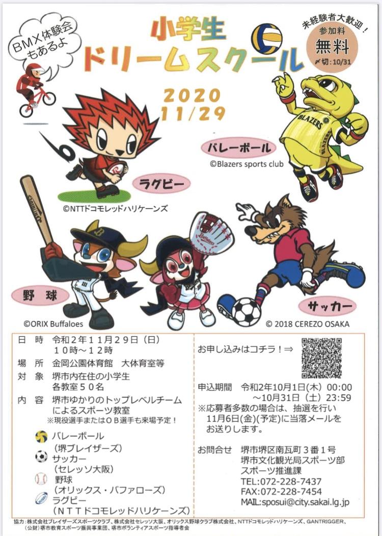堺市ゆかりのトップレベルチームによる「小学生ドリームスクール」参加者募集!